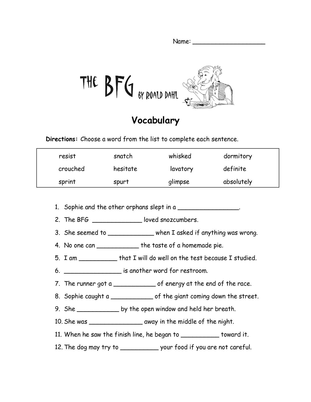 The BFG Worksheets The BFG Vocabulary Worksheet – Vocabulary Worksheet