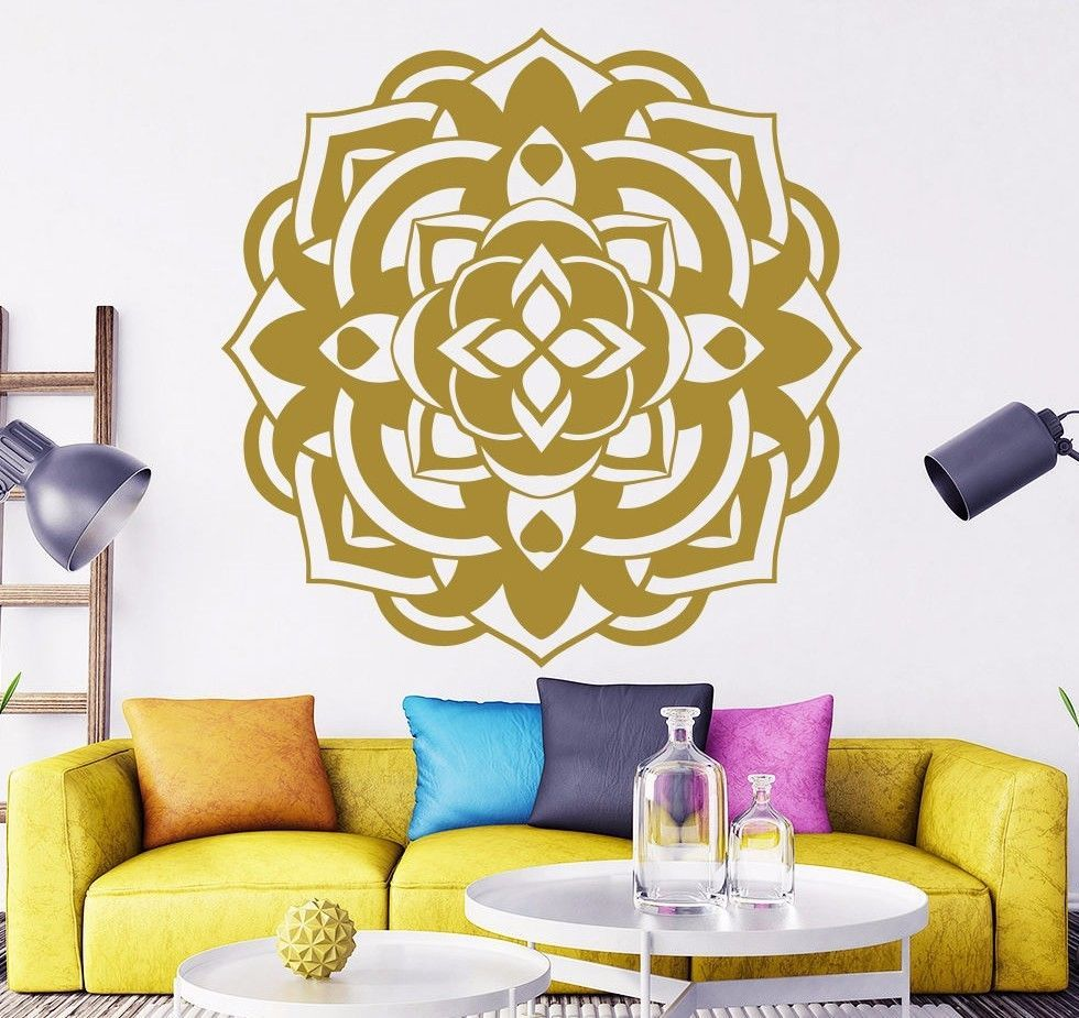 Gold Mandala Flower Wall Decals Yoga Ganesh Om Namaste Vinyl - US ...