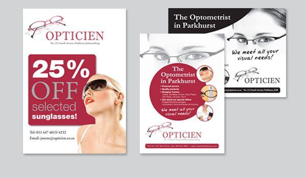 ae8d4107203186 Opticien Poster, Flyer and Newsprint Advert   Icandy Design ...