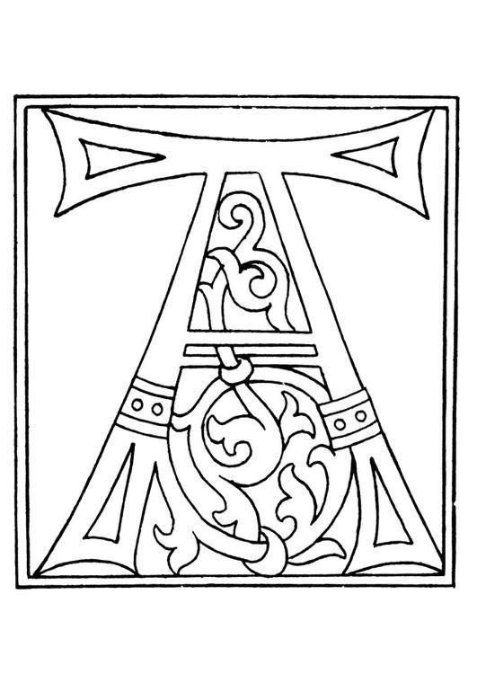 Coloring Page 01a Alphabet A Coloring Picture 01a