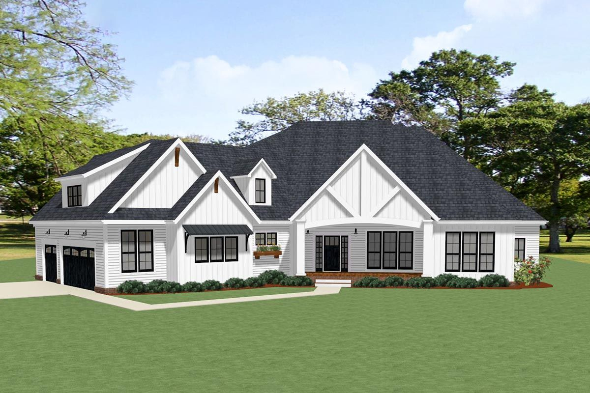 Plan 46357la Stunning 4 Bedroom Farmhouse Plan With 3 Car Garage And Outdoor Living Modern Farmhouse Plans Farmhouse Plans House Plans Farmhouse