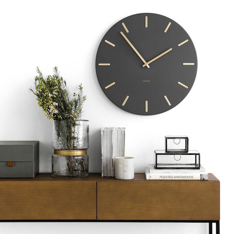 Din Reloj De Cocina Gris Con Detalles Dorados Relojes De Pared Paredes Grises Reloj Decoracion