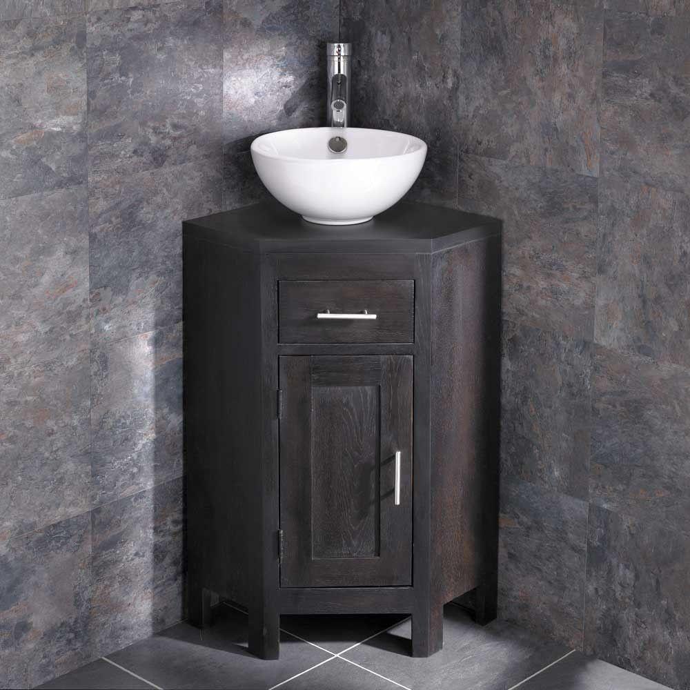 dark wenge oak corner vanity bathroom cabinet round bowl set rh pinterest com