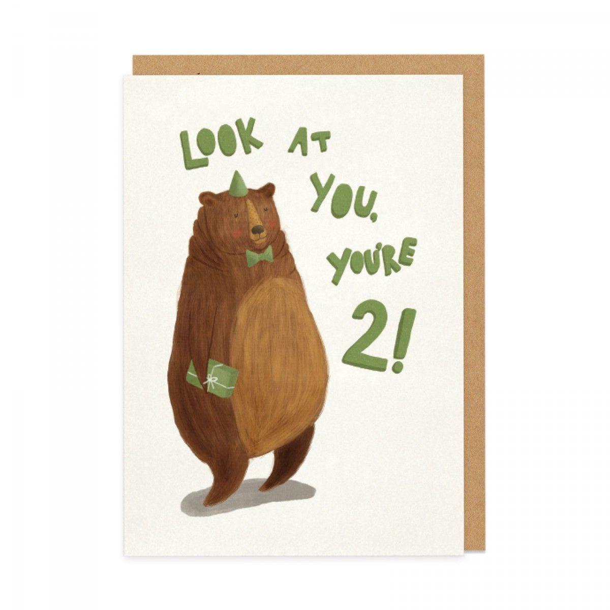 2nd Birthday Bear Greeting Card Ohh Deer Greeting Cards