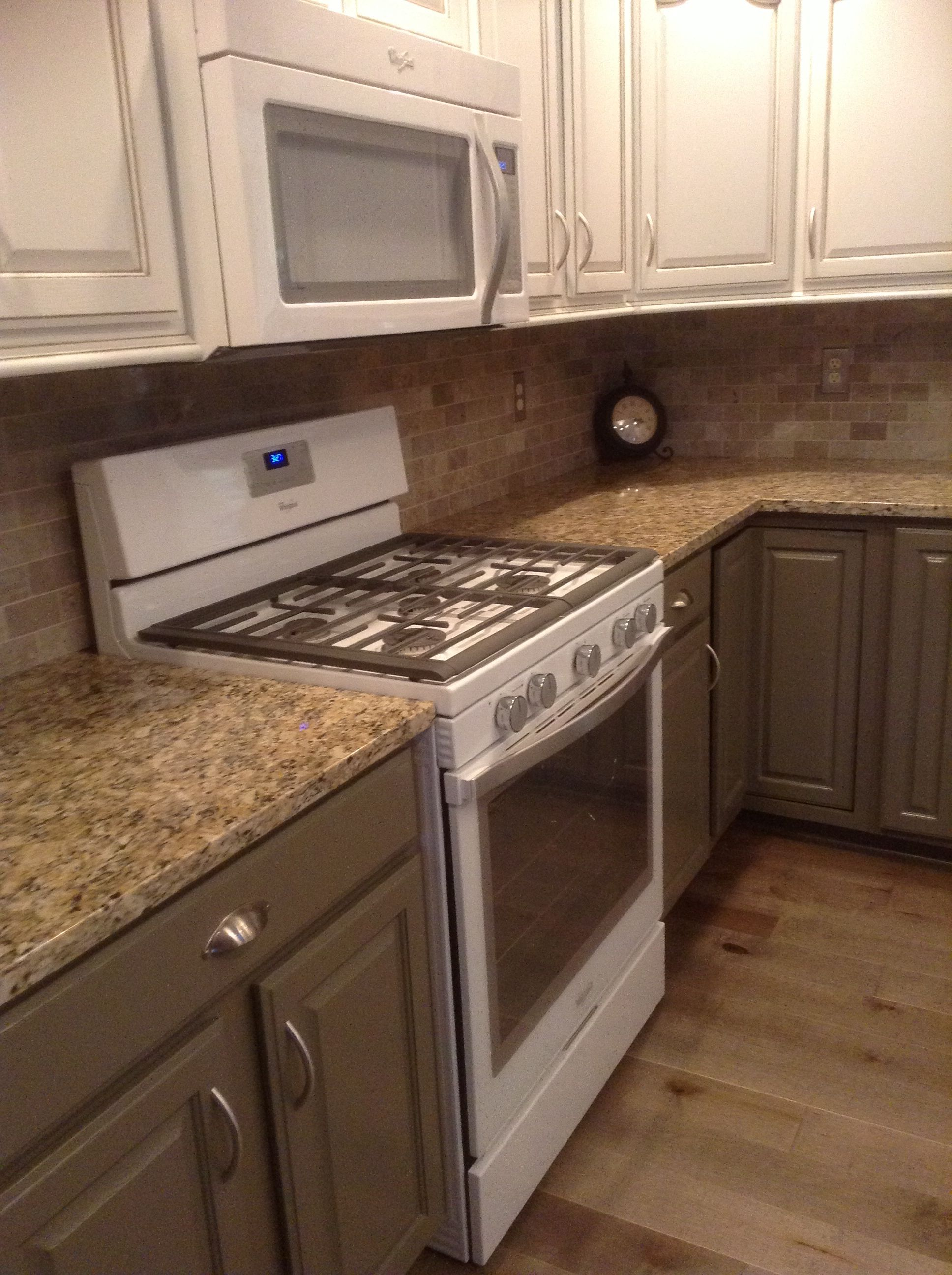 kitchen remodel painted existing cabinets gray below and white rh pinterest com