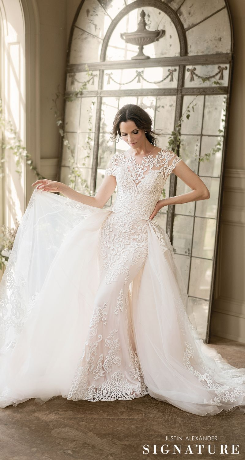 Wedding dress with removable train  Style  Fit and Flare Wedding Dress with Voluminous Detachable