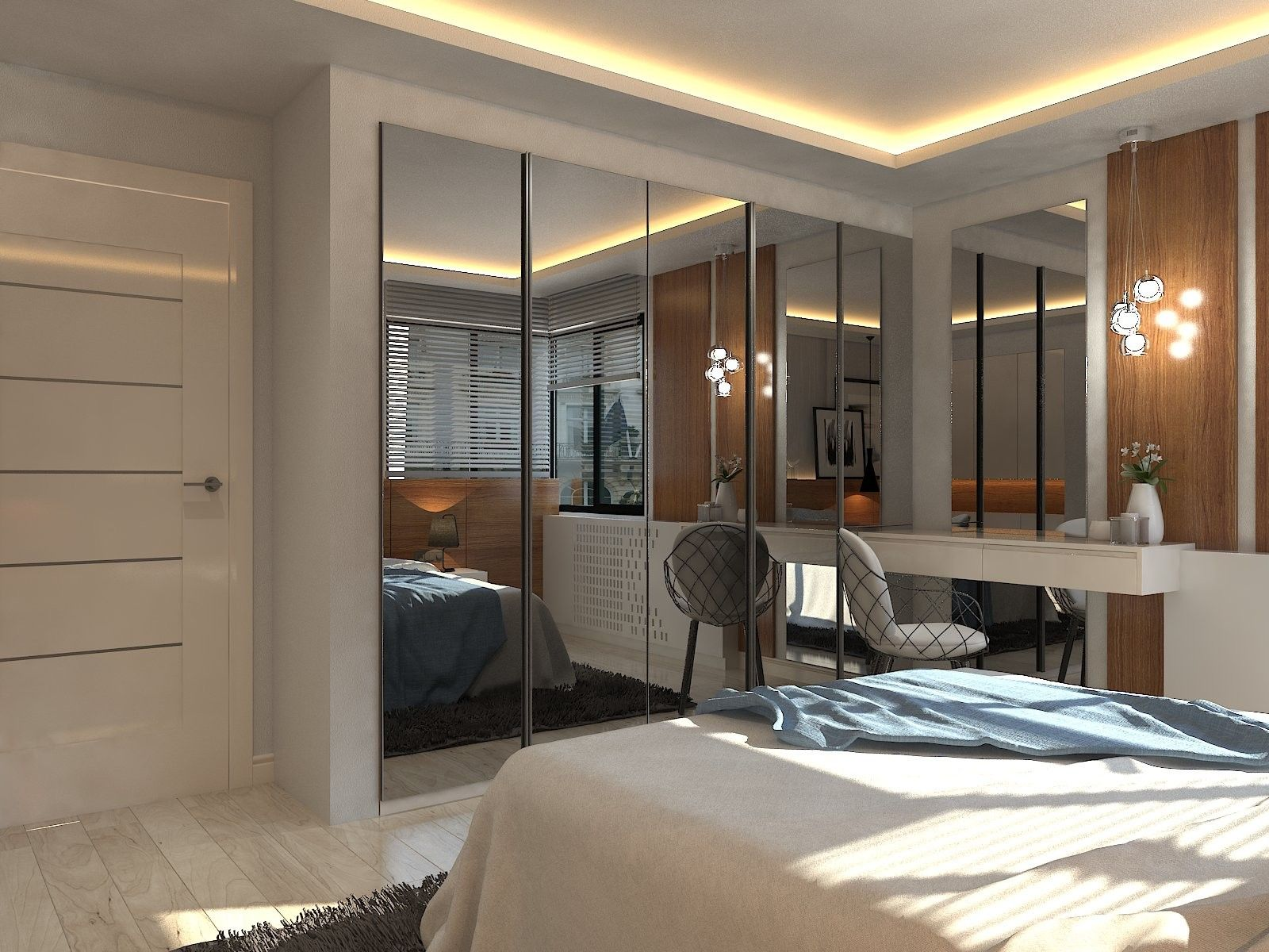 Architecture Bedroom design interior mirror wardrobe