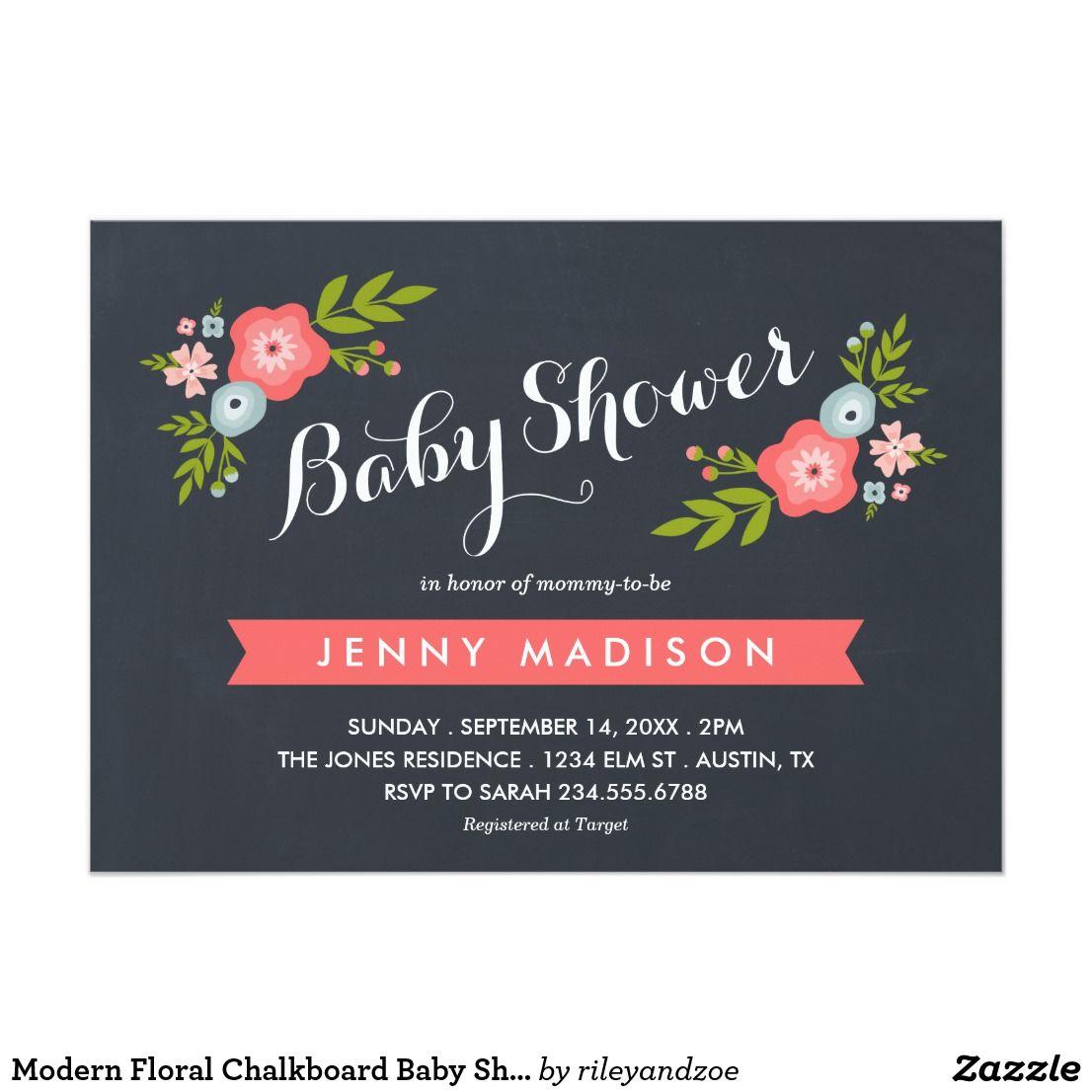 Modern floral chalkboard baby shower invitation chalkboard baby modern floral chalkboard baby shower invitation filmwisefo