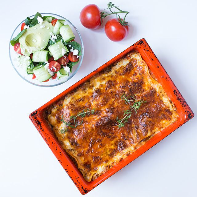 Marias Matglede ♥: Smakfull vegetarlasagne + frisk salat som tilbehør...