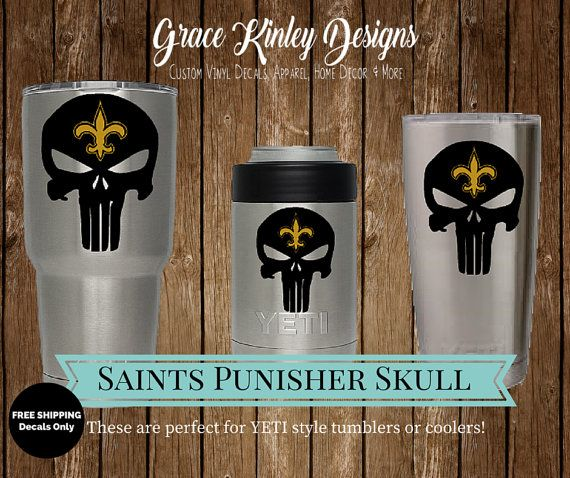 Yeti Cup Decal New Orleans Saints Punisher Skull Nfl