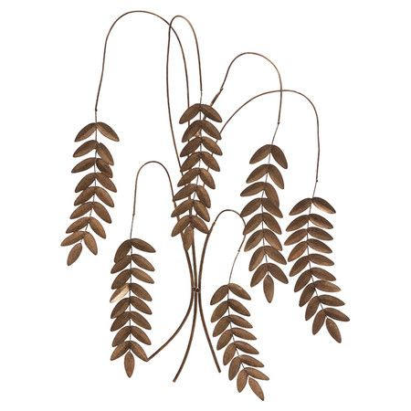 Bring a touch of organic-inspired appeal to your foyer or living room with this eye-catching wrought iron wall decor, showcasing 6 hanging leaf stems.