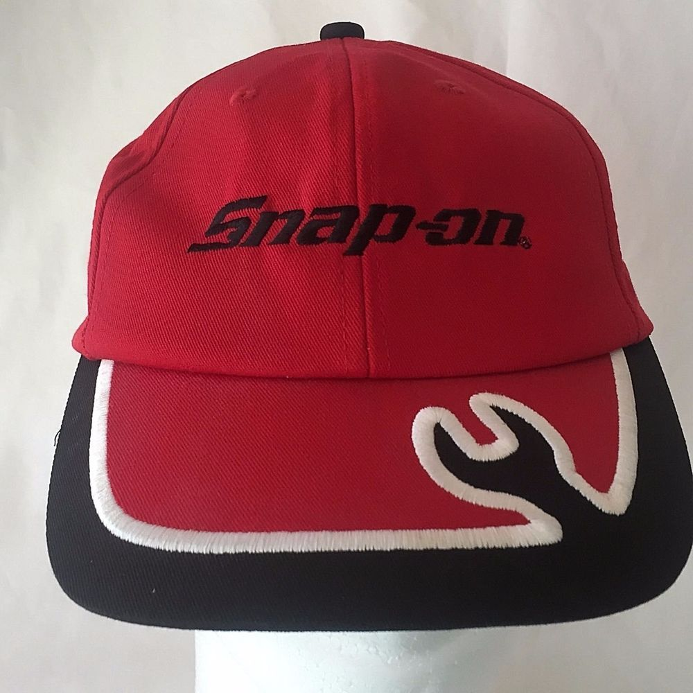 Snap On Tools Baseball Hat Red Black Cap Wrench Embroidery SnapOn