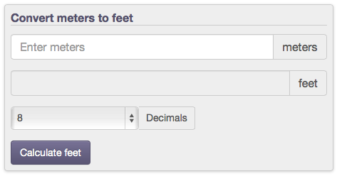 length conversion from meters to feet (m to ft) with calculators, formulas and tables