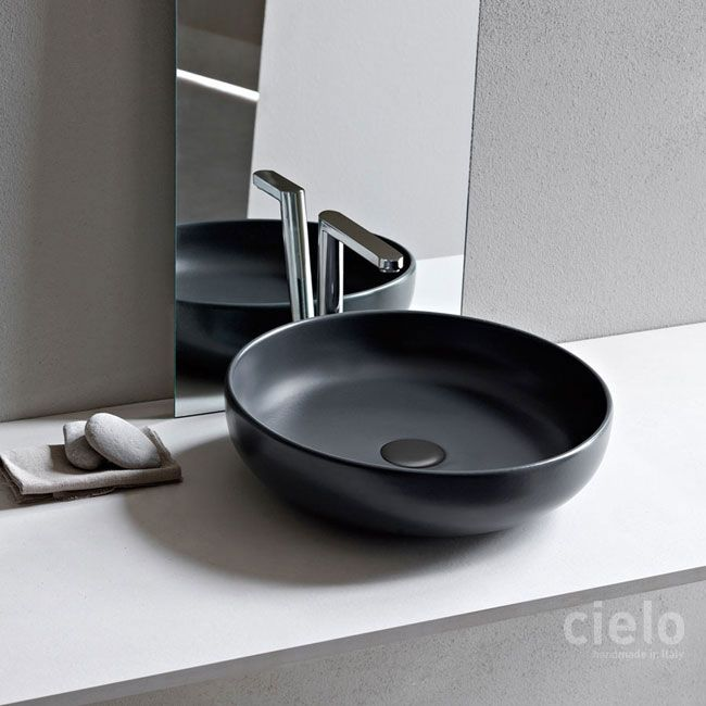 On Top Bowl Diameter Colored Basalto Shui Basin Colored - Colored bathroom fixtures