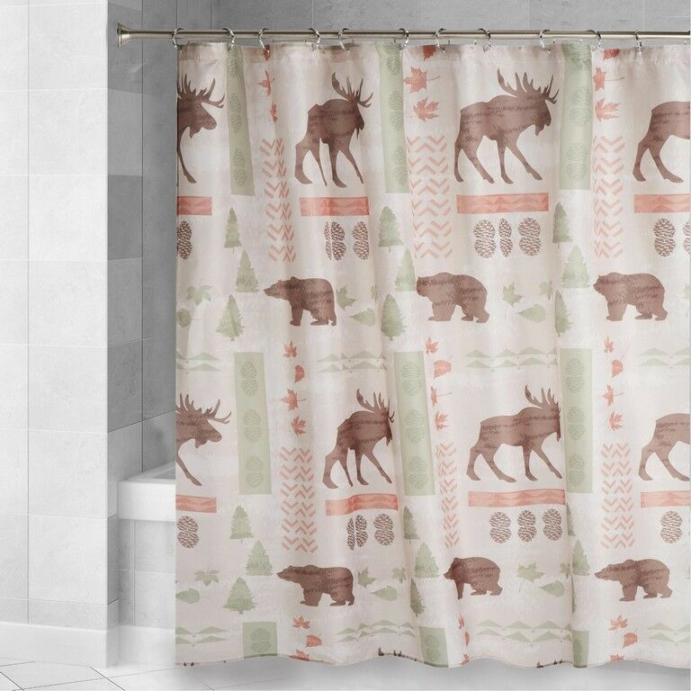 Moose Bear Fabric Shower Curtain Cabin Wilderness Lodge Forest 72l X 70w Famoushome Lodge In 2020 Fabric Shower Curtains Shower Curtain Lodge Shower Curtain