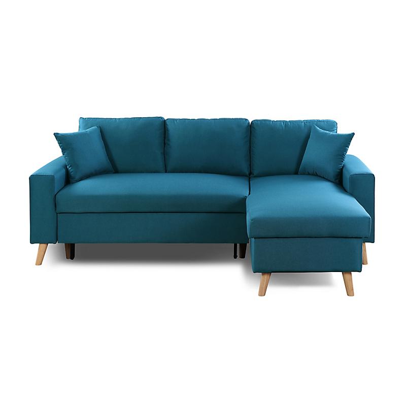 Canape D Angle Scandinave Reversible Convertible Avec Coffre En Tissu Bleu Petrole Olga Maison Et Loisirs E Lecl En 2020 Canape Angle Canape Bleu Petrole Tissu Bleu