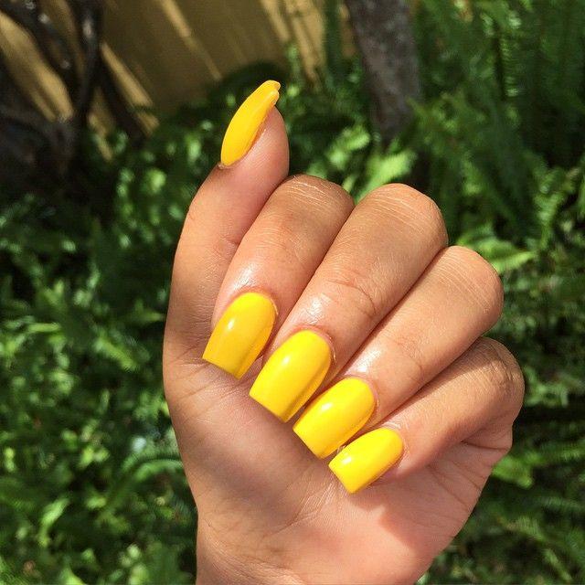 Yellow Summertime Nails Acrylic Nails Yellow Short Square