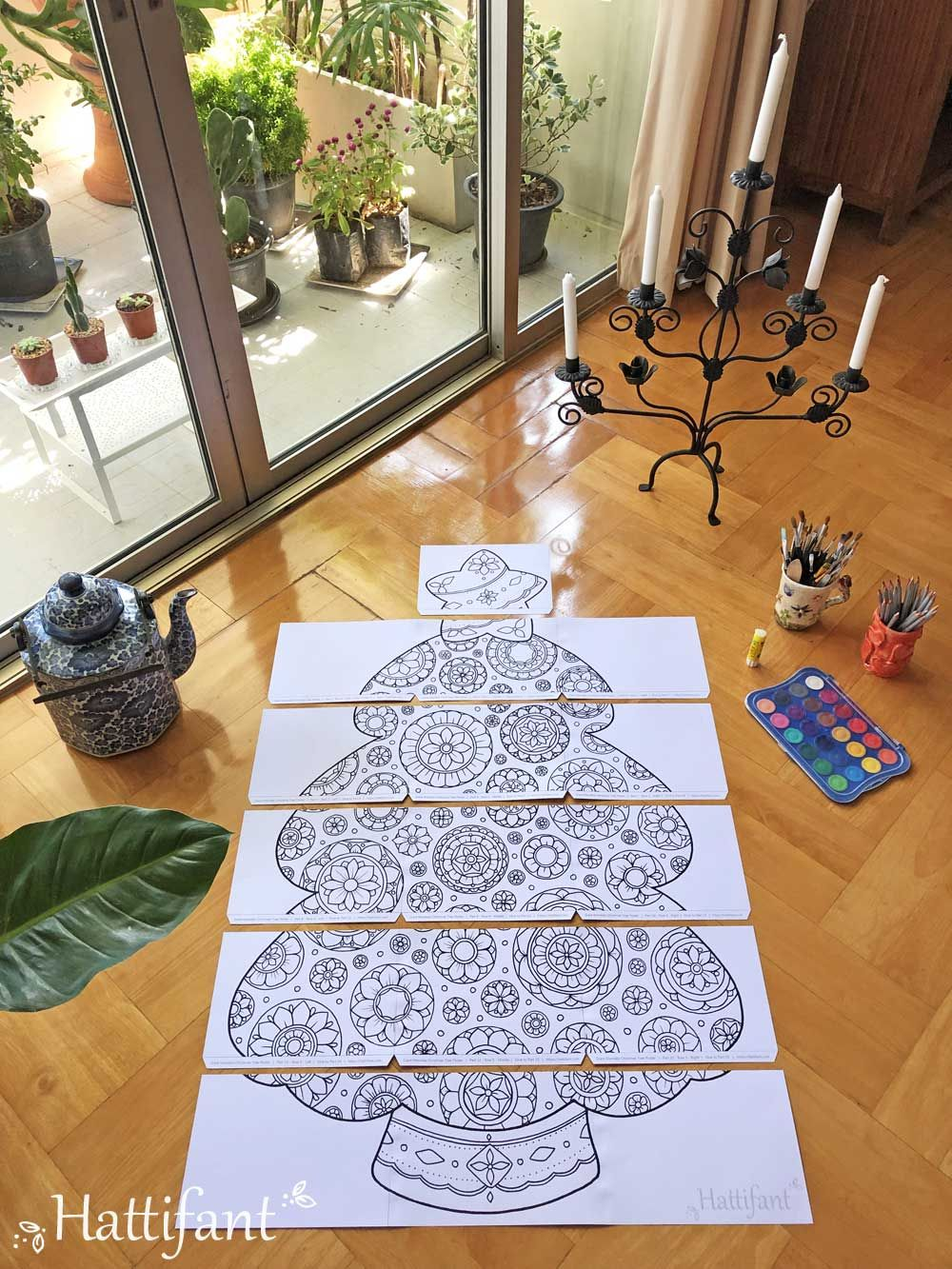 Giant Poster Mandala Christmas Tree To Color In Hattifant Giant Poster Colorful Christmas Tree Christmas Tree Poster