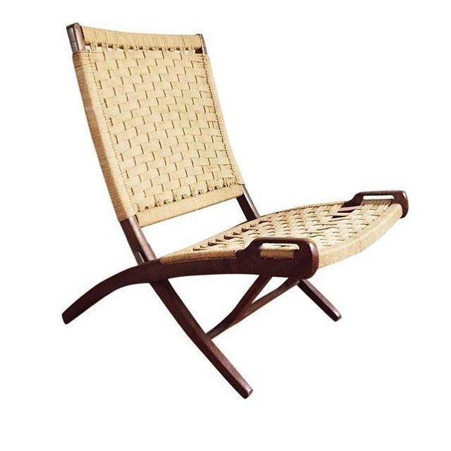 Hans Wegner Style Jute Folding Chair
