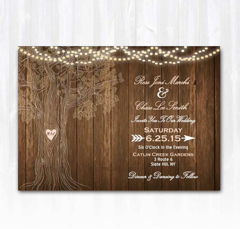 Rustic Tree Wedding Invitation DIY by TreasuredMomentsCard