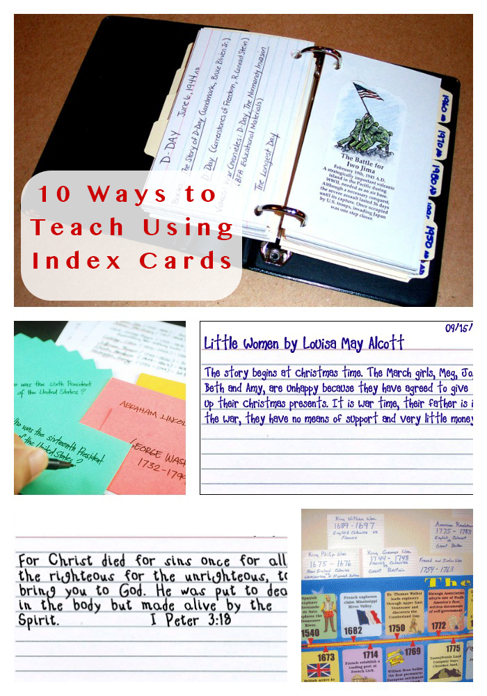 10 Ways To Use Index Cards In Your Homeschool Index Cards Homeschool Cards