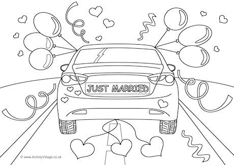 Just Married Colouring Page Just Married Wedding Coloring Pages
