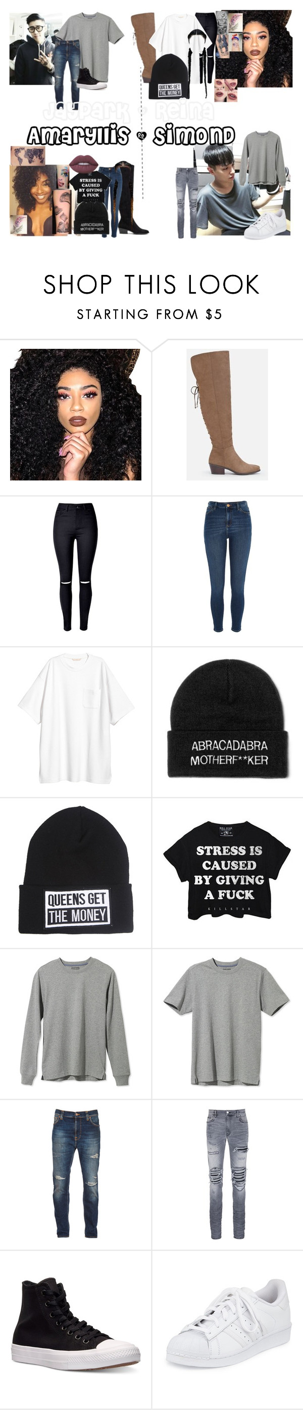 """Late Nights"" by teylorann on Polyvore featuring Kylie Cosmetics, River Island, Disney, Killstar, L.L.Bean, Nudie Jeans Co., AMIRI, Converse, adidas and Lime Crime"