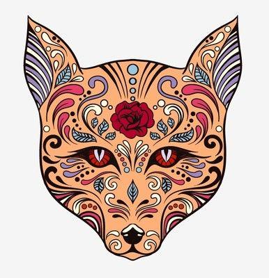 Animal fox Sugar Skull day of the dead sticker vinyl decal n37-7