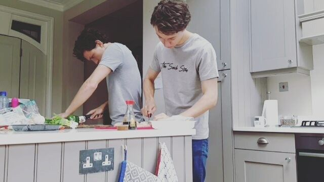 Tom and Harrison cooking up some yummies!!