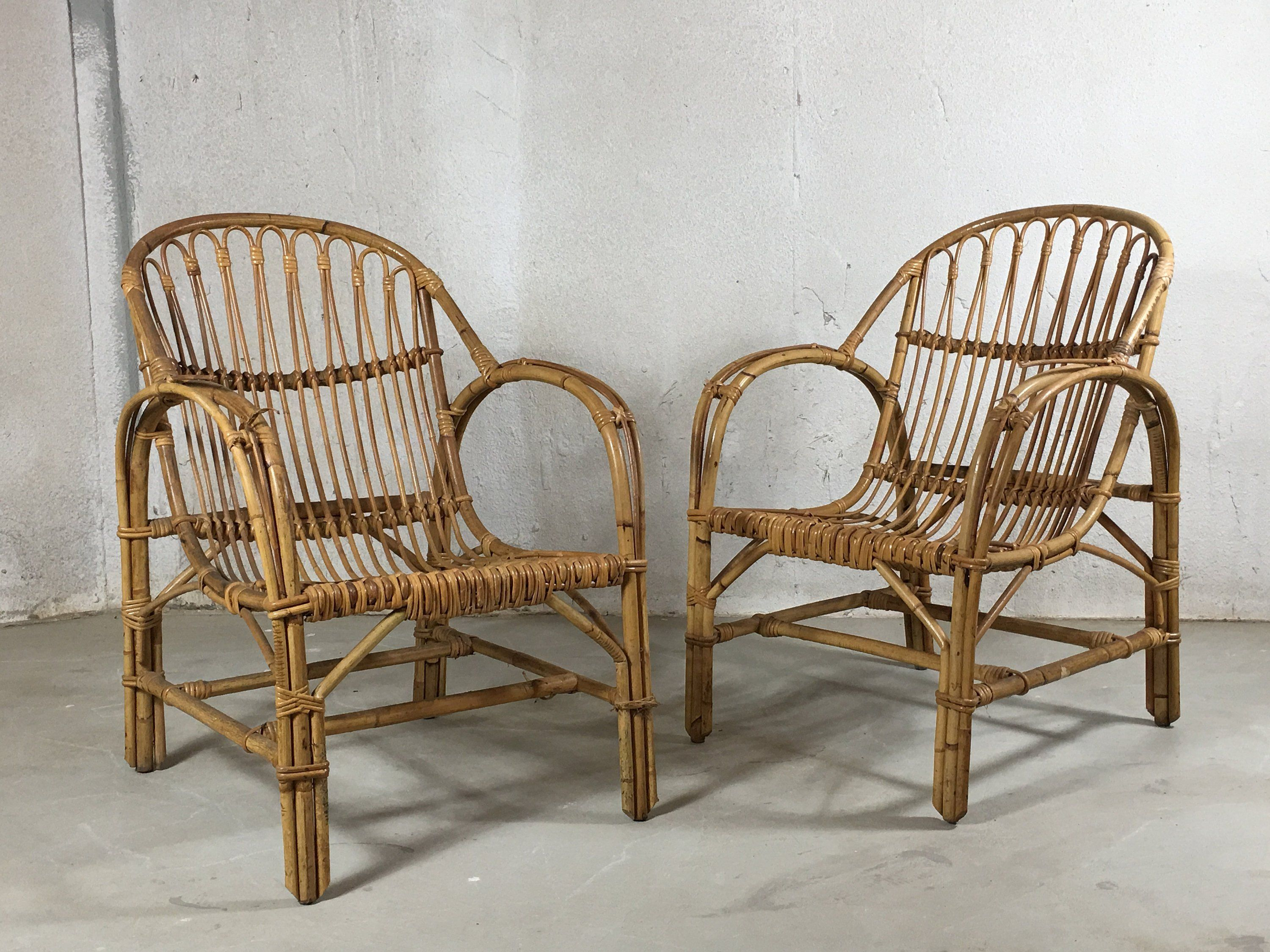 Vintage Rattan Chair Pair Vintage Rattan Chairs Rattan Furniture Wicker Furniture