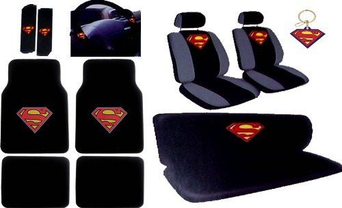 Superman Car Accessories Seat Covers Bench Cover Floor Mats Shoulder Pads Steering Wheel Keychain