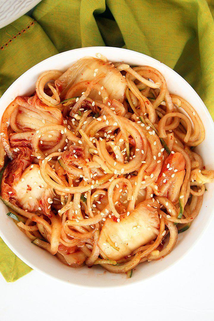 Easy spicy cold noodles with kimchi kimchi bibim guksu