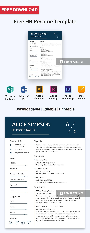Free HR Resume Format Hr resume, Resume, Resume templates