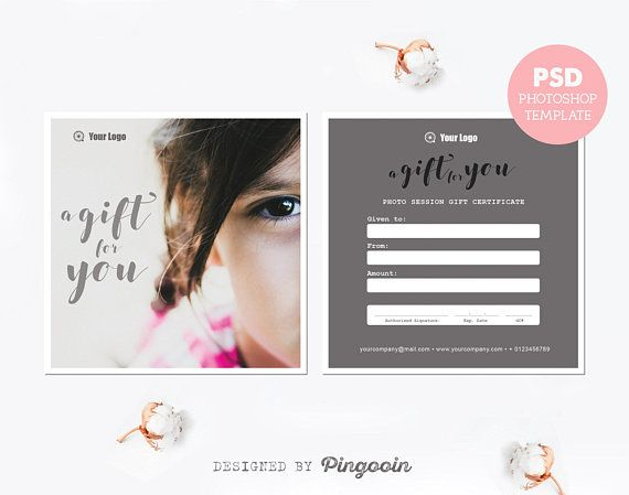 Gift voucher template Gift certificate template Photography gift