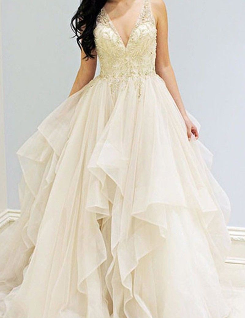 Aline vneck sleeveless sweep train ivory beading prom dress with