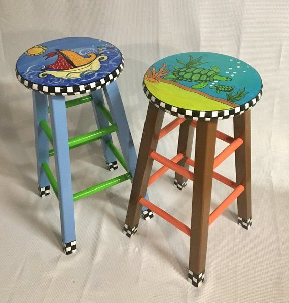 whimsical painted furniture painted bar stool nautical painted rh pinterest com