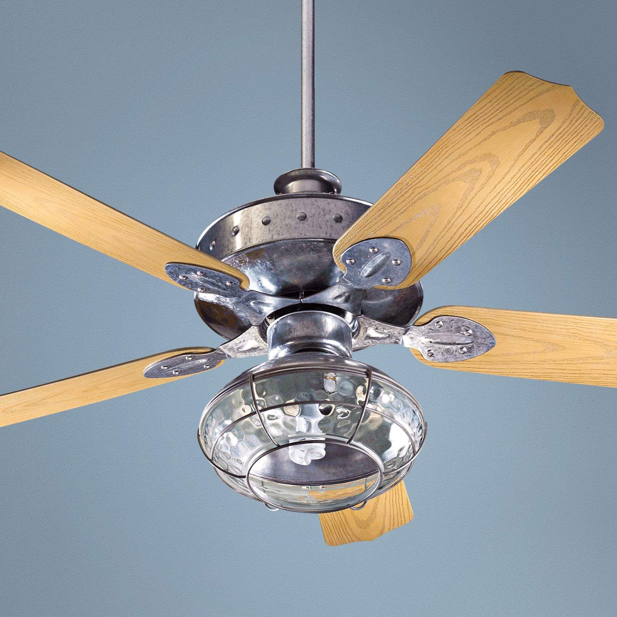 52 quorum hudson galvanized patio ceiling fan with light