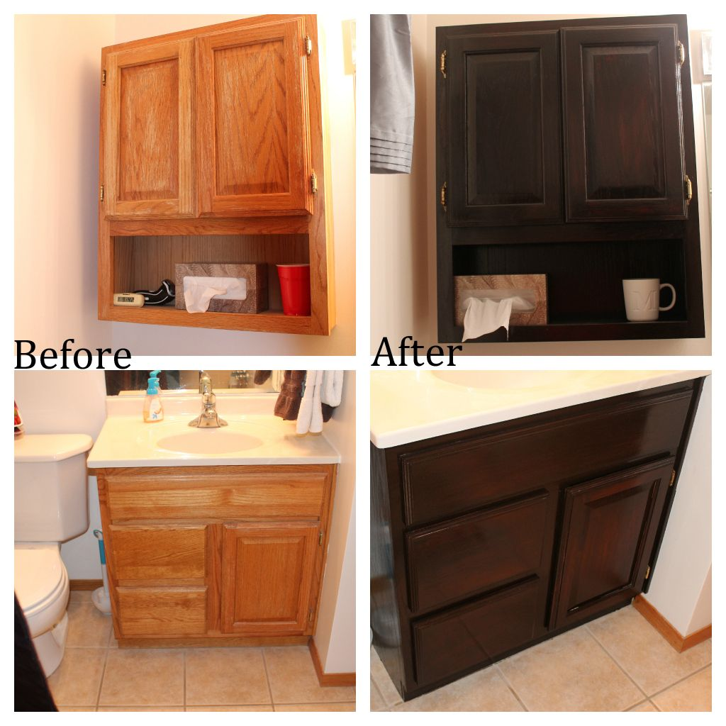 Captivating Staining Oak Bathroom Cabinets
