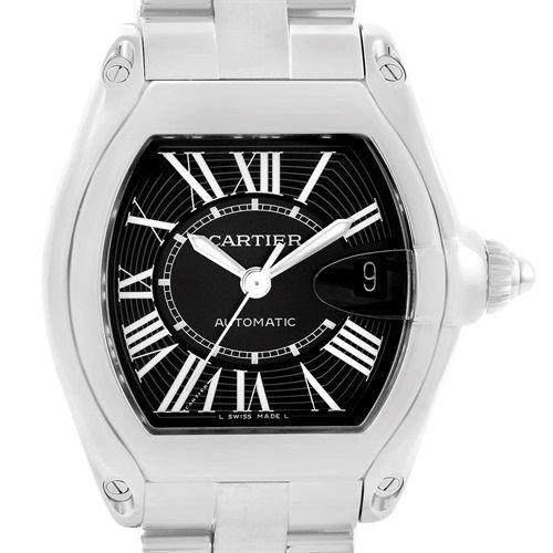 16984 Cartier Roadster Black Dial Large Steel Watch W62041V3 Box Strap SwissWatchExpo