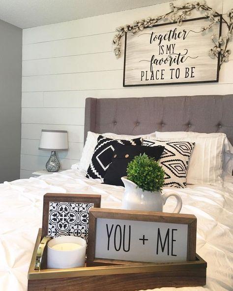 Master bedroom decor shiplap wall black white farmhouse style farmhouse decor