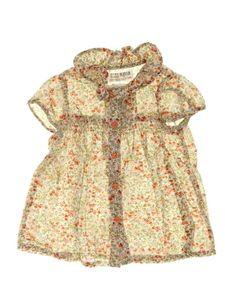 Blusinha Creme Floral Laranja Infantil