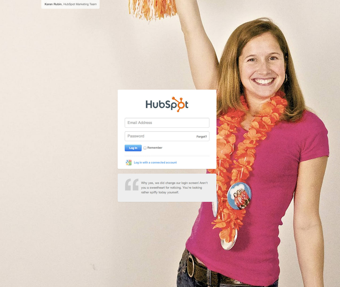 Cool login pages by HubSpot
