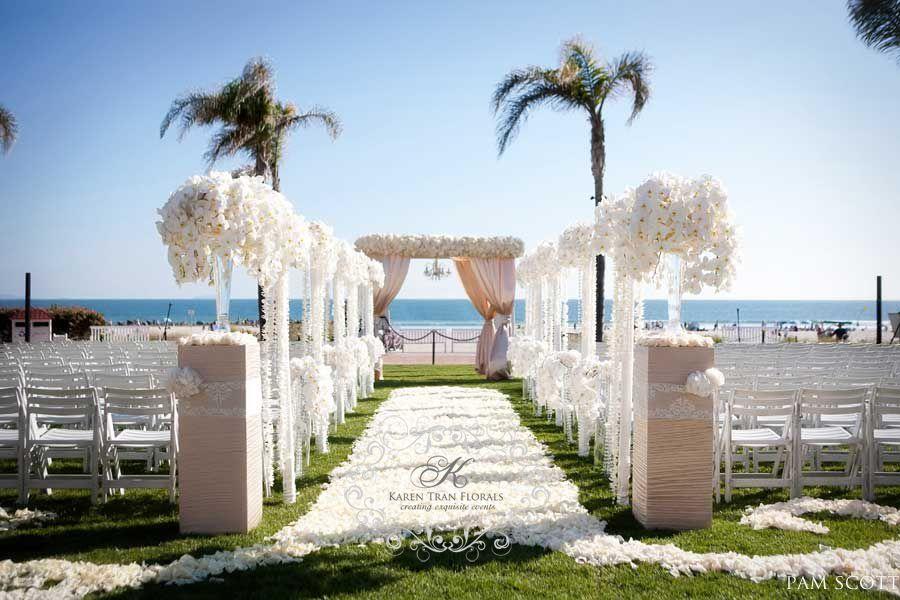 small beach wedding ceremony ideas%0A An all white beach wedding  Gorgeous white flowers down the aisle