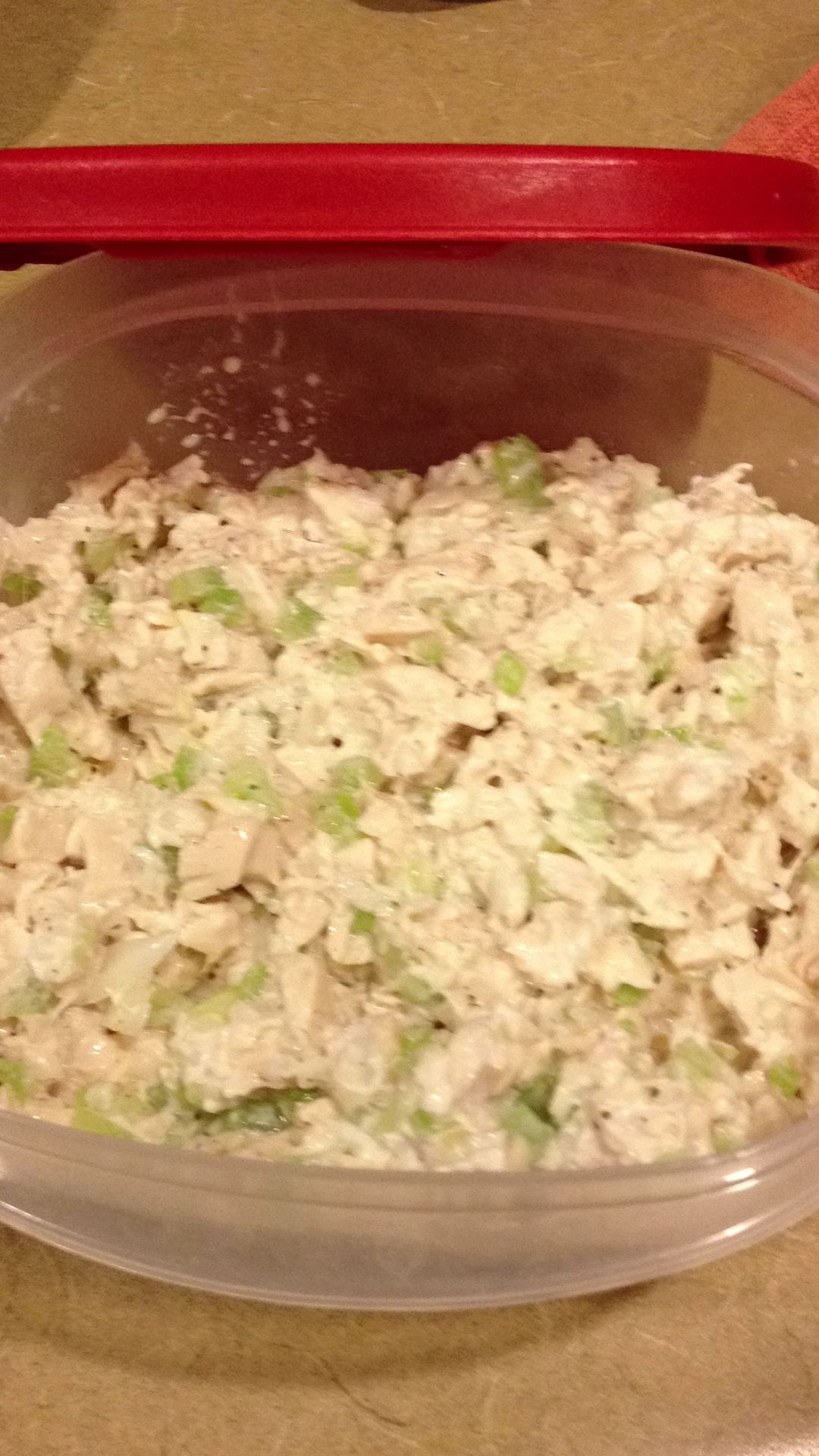 Greek Yogurt Chicken Salad  Low cal high protein chicken salad.   2 poached chicken breast - chunks  Chobani plain Greek yogurt 1 small onion chopped  1 large celery stalk chopped  Salt and pepper to taste   I serve on a soft whole wheat bun  No mayo!! No oil!!!