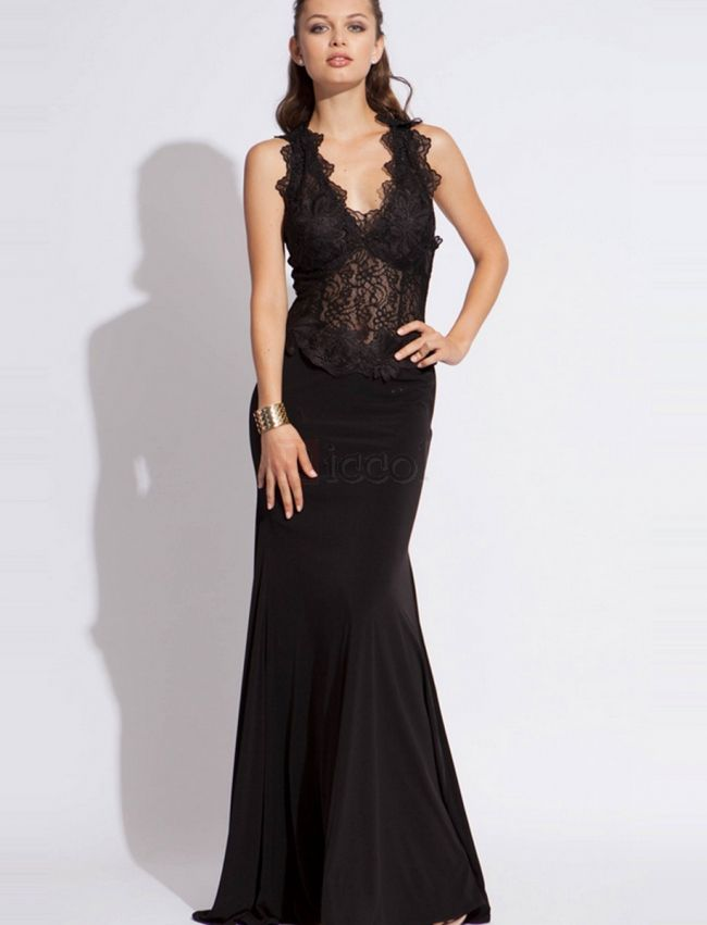 ❀ V-neck Backless Chiffon Lace Sleeveless Sheath Evening Dresses | Riccol ❤