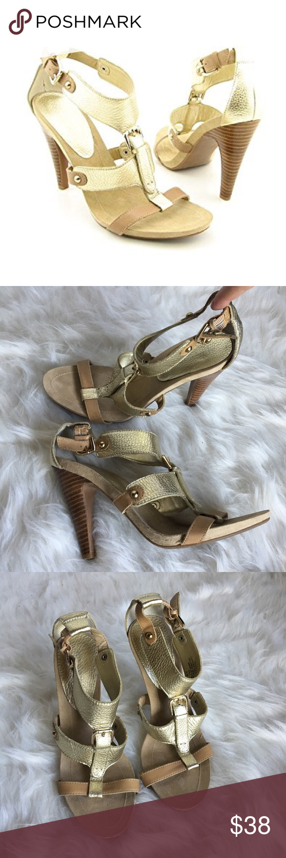 84f7db283ce2e Nine West Snooks gladiator leather strappy heels 8 Lovely Nine West gold  and tan strappy heeled sandals. The style is Snooks