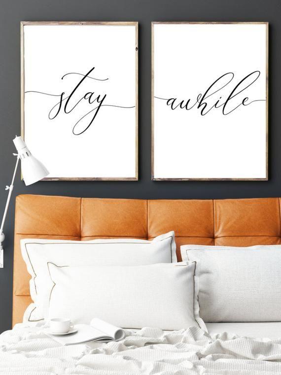 Verblijf een tijdje slaapkamer printables, woonkamer citeer decor prints, boven Couch teken, script kalligrafie, Wall Art posters, instant digitale download