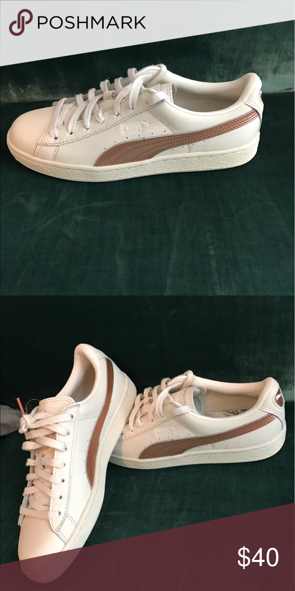 Cream and Rose Gold Puma Sneakers Brand