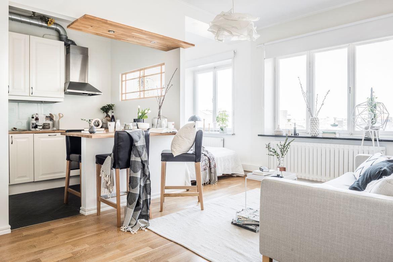 Mini piso con isla en la cocina | Cocina nórdica, Cocinas blancas y ...