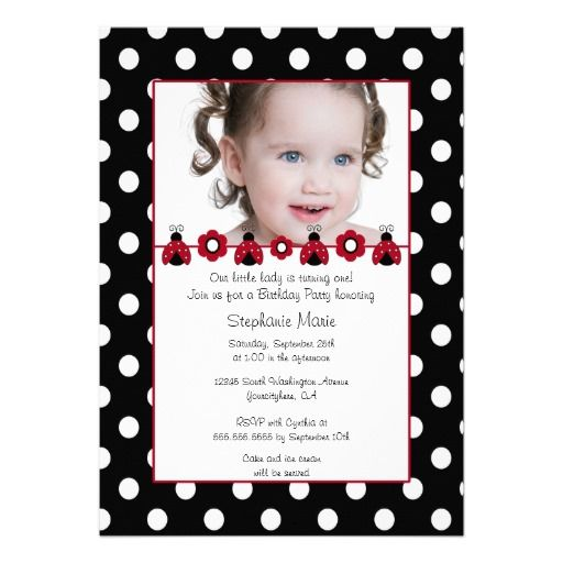 Cute red ladybug photo birthday party invitation Party invitations